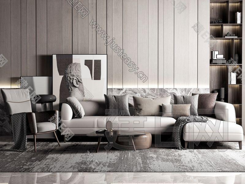 现代高级灰沙发茶几组合3d模型