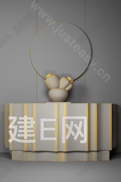 新中式边柜3d模型