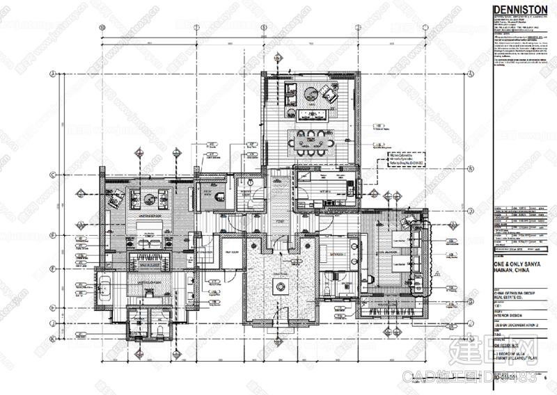 【Denniston 丹尼斯顿】三亚One&Only唯逸度假酒店 全套CAD施工图+物料书+效果图