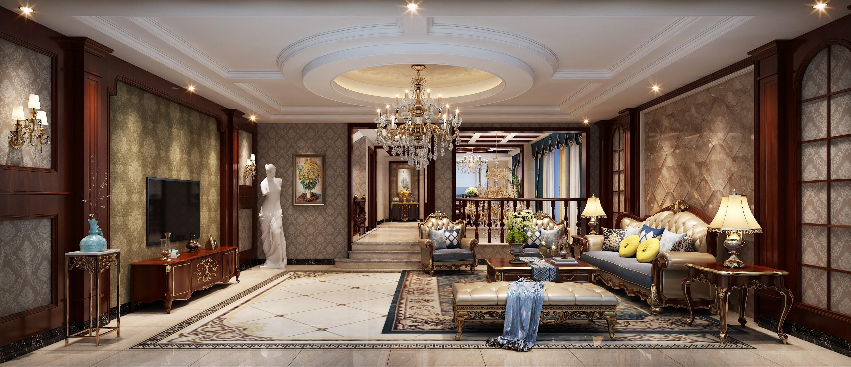 美式豪华客厅效果图
