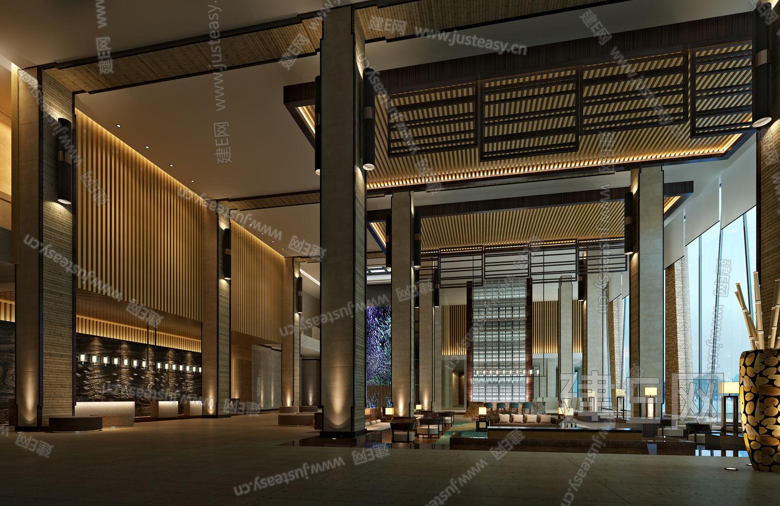 千岛湖洲际度假酒店现代中式大堂 建e网3d模型分享交流平台 3d模型下载 3d模型下载网站