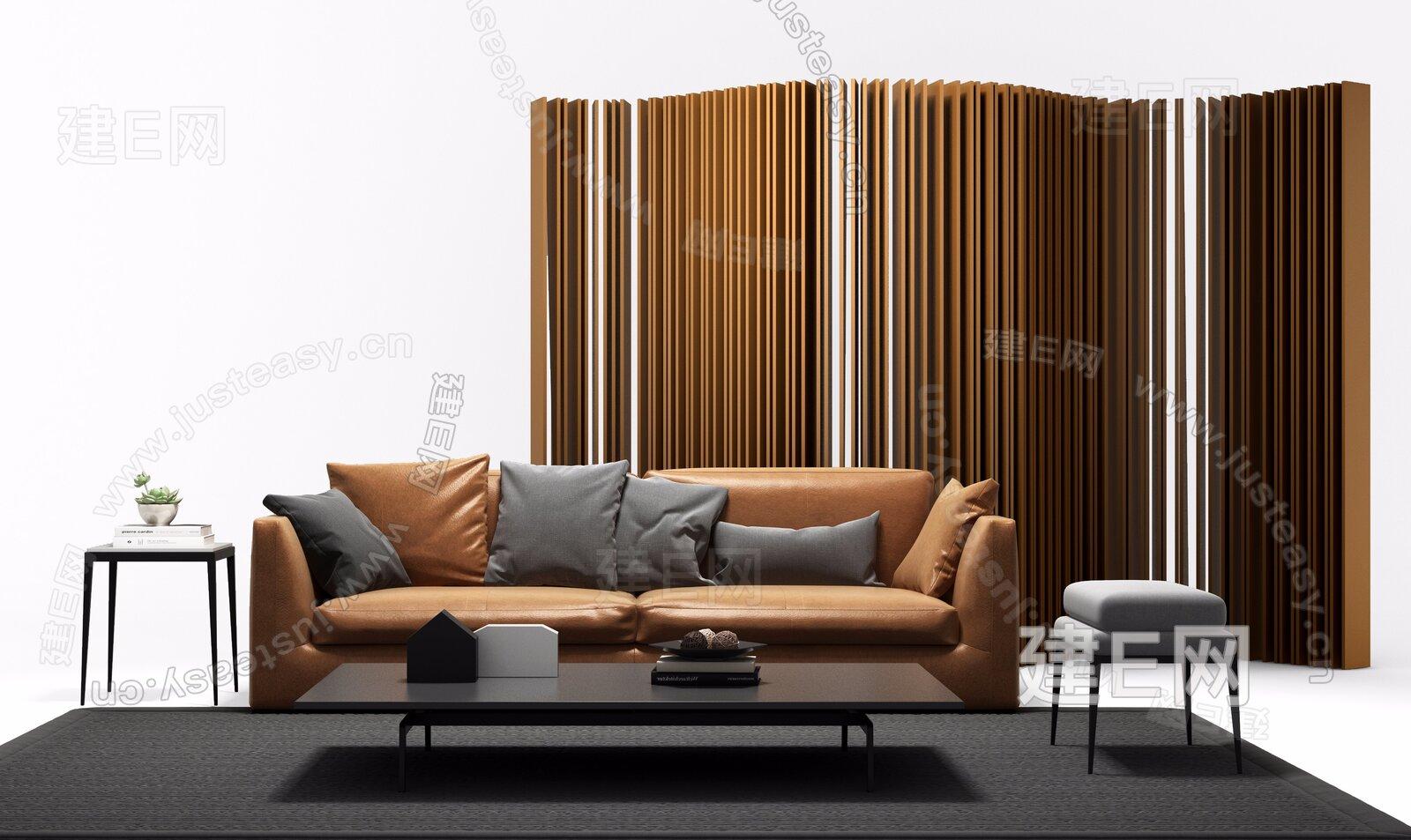 B&B Italia 现代沙发茶几组合3d模型