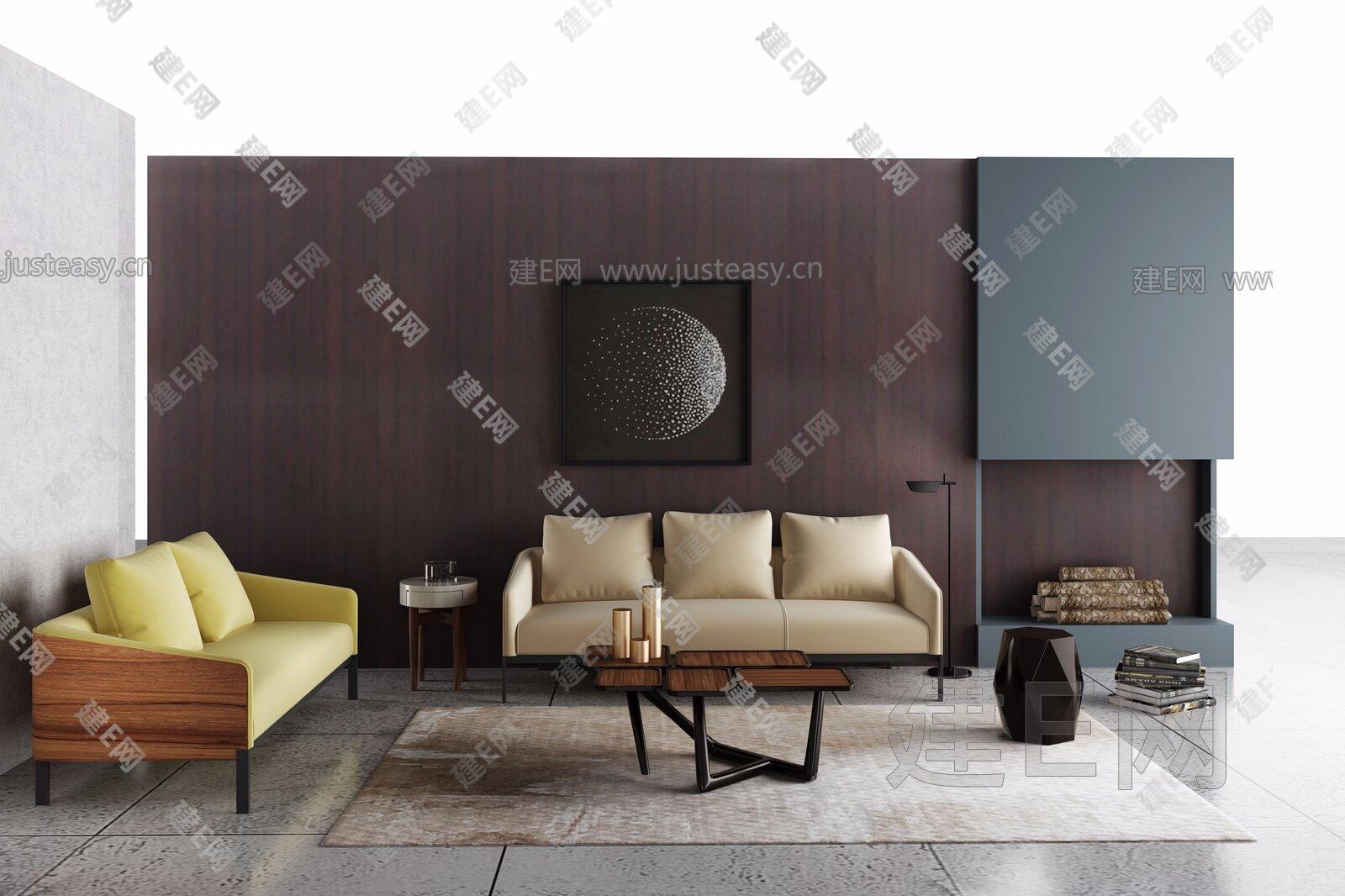 HC28 新中式沙发茶几组合3d模型