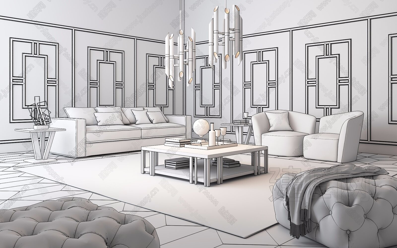 英国 BRUNOTARSIA 英国 现代沙发茶几组合3d模型