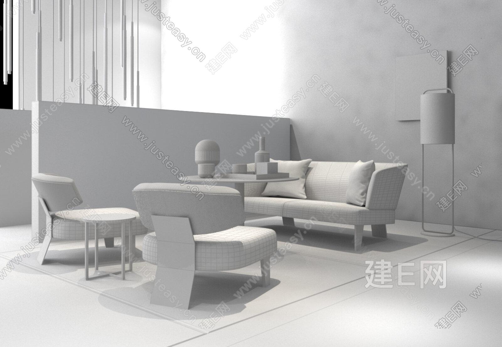 现代轻奢沙发组合3d模型