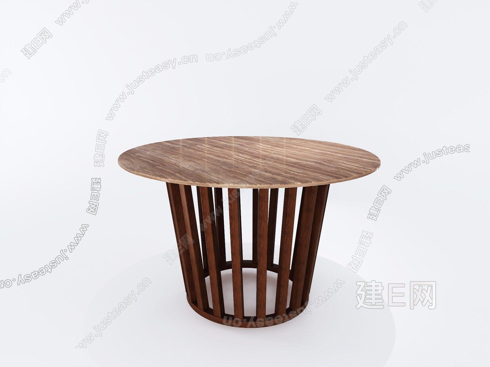 现代圆餐桌3d模型