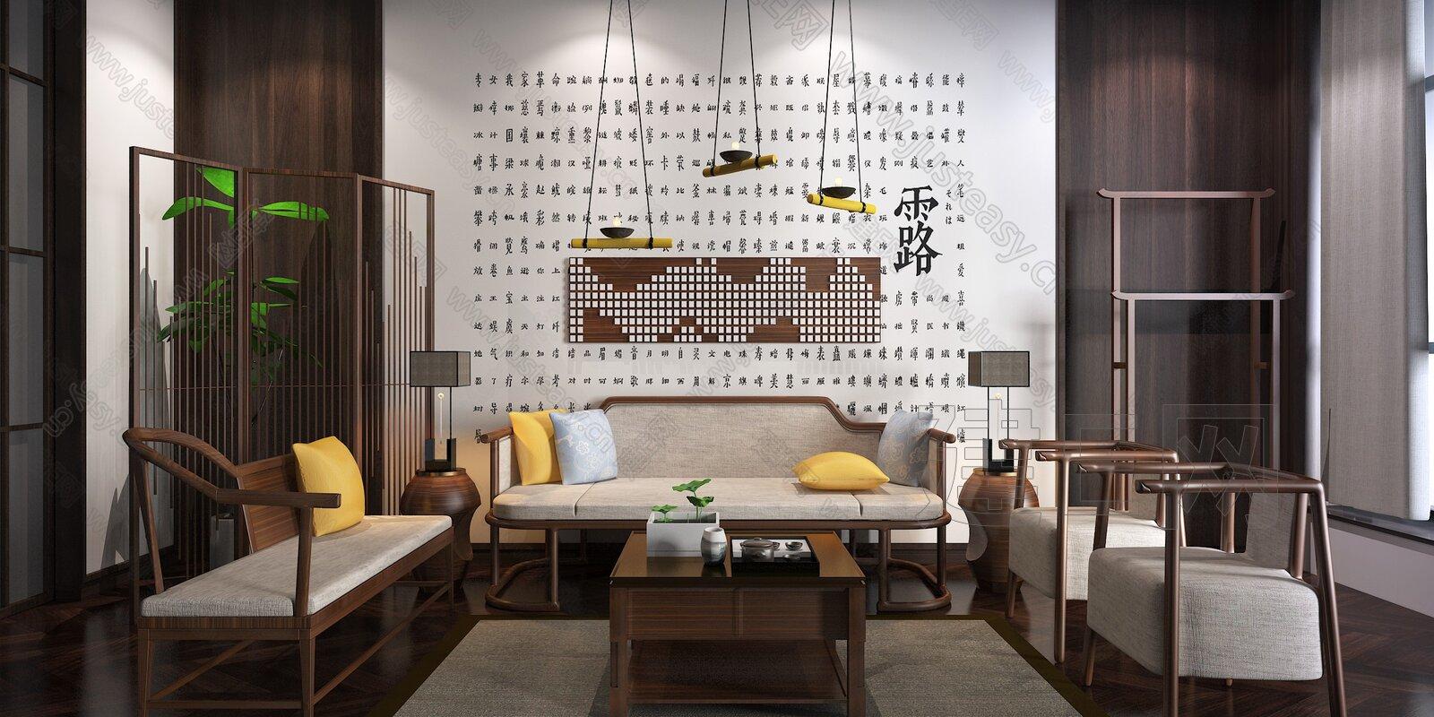 新中式沙发茶几组合3d模型