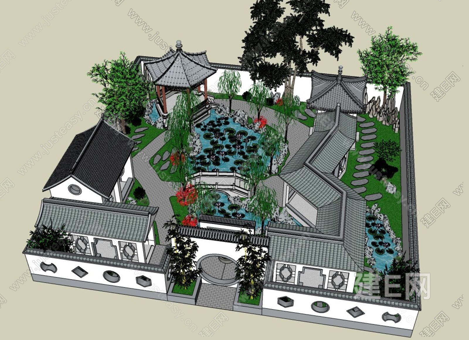 古典园林sketchup模型