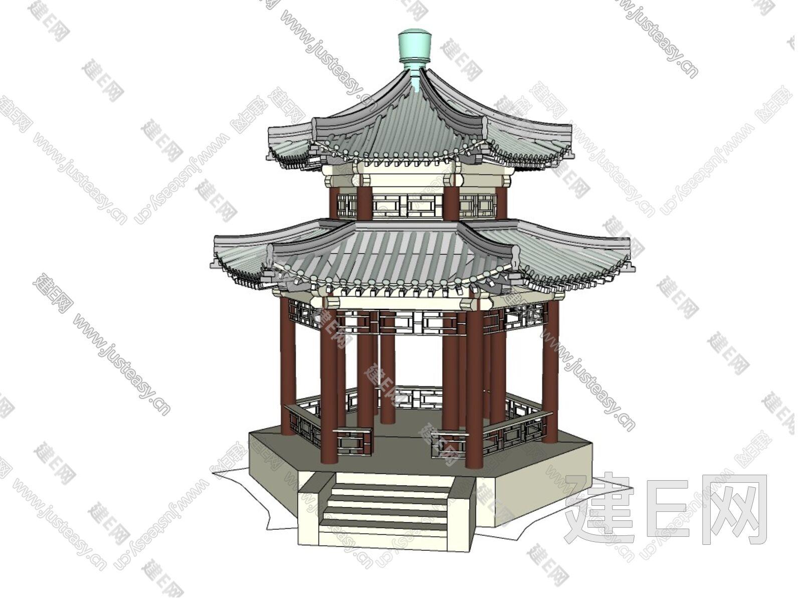 重檐6角亭sketchup模型