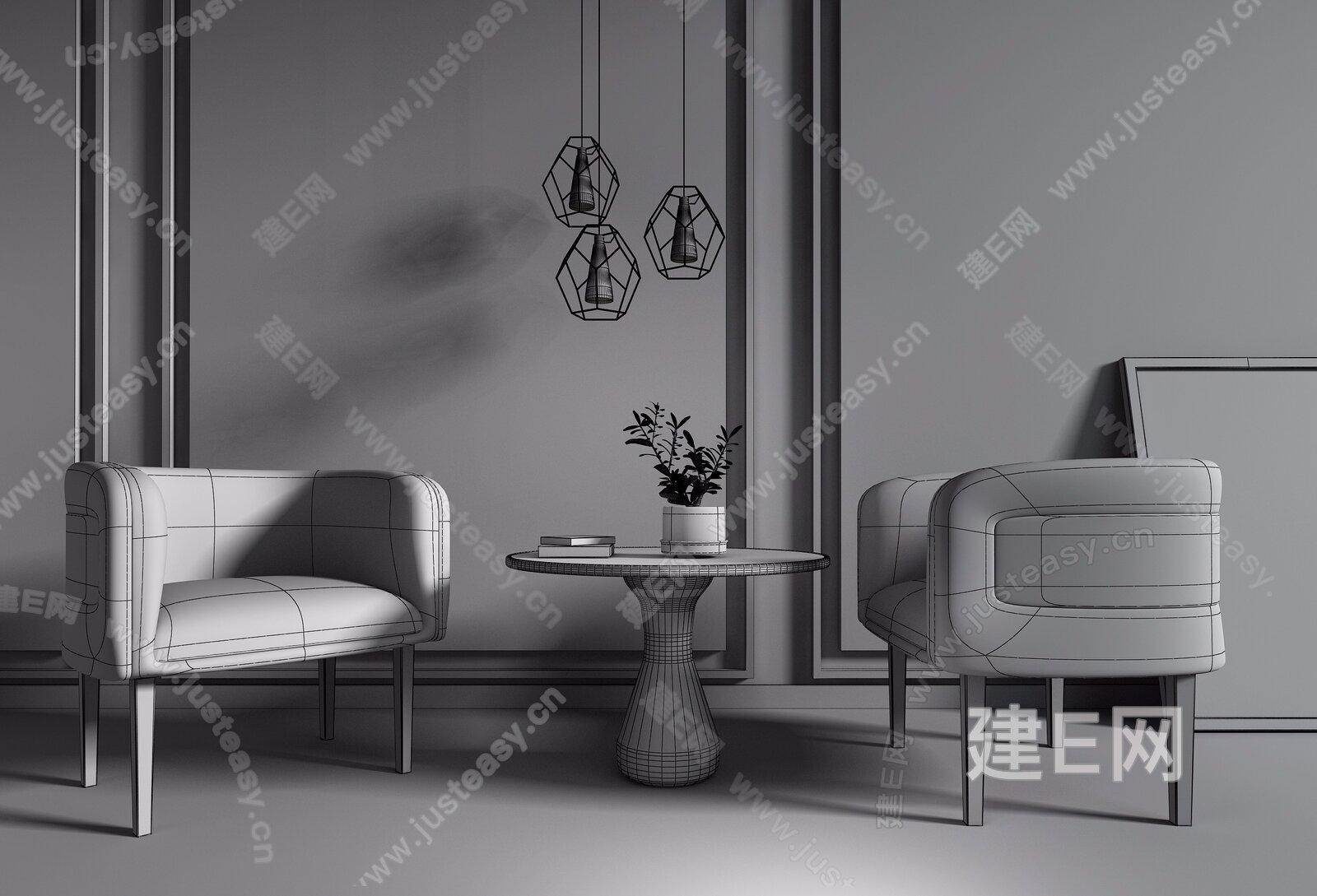 现代休闲椅圆几组合3d模型