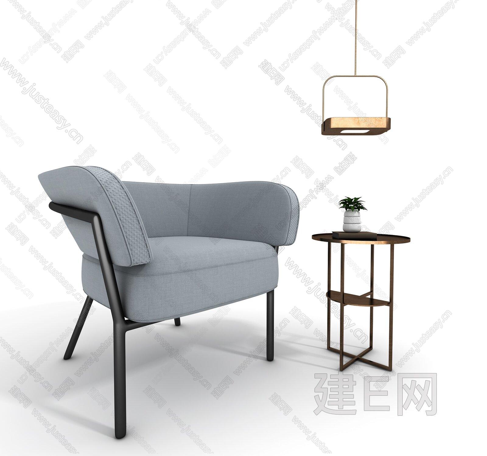 新中式单椅边几3d模型