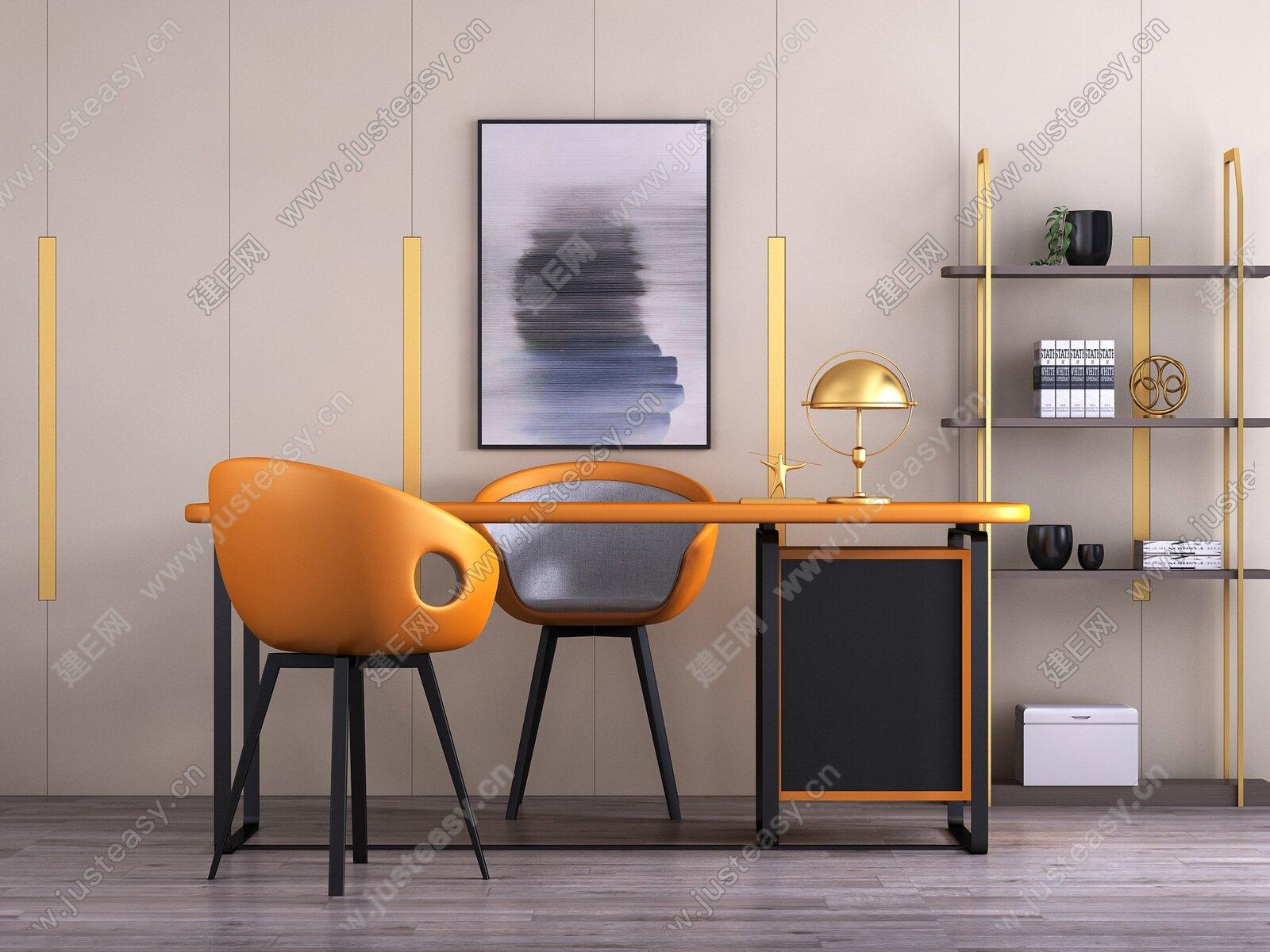 现代书桌椅组合3d模型