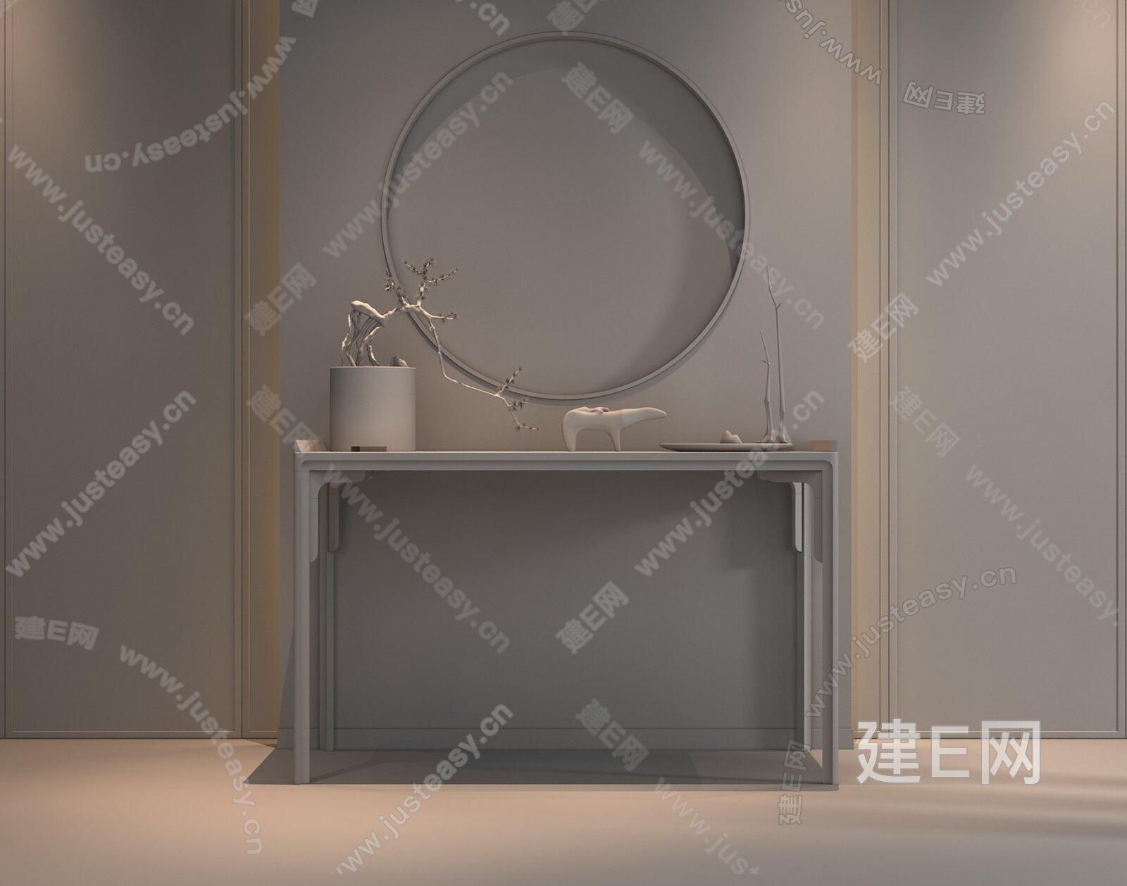 新中式端景台3d模型
