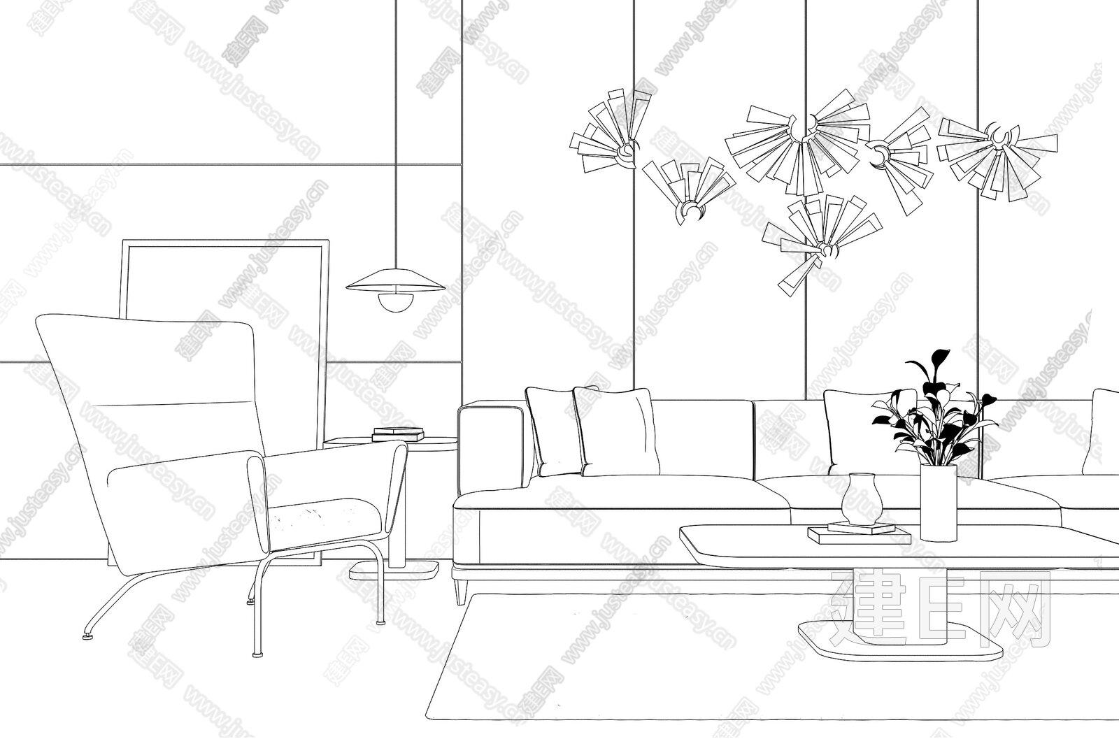 现代沙发茶几组合3d模型