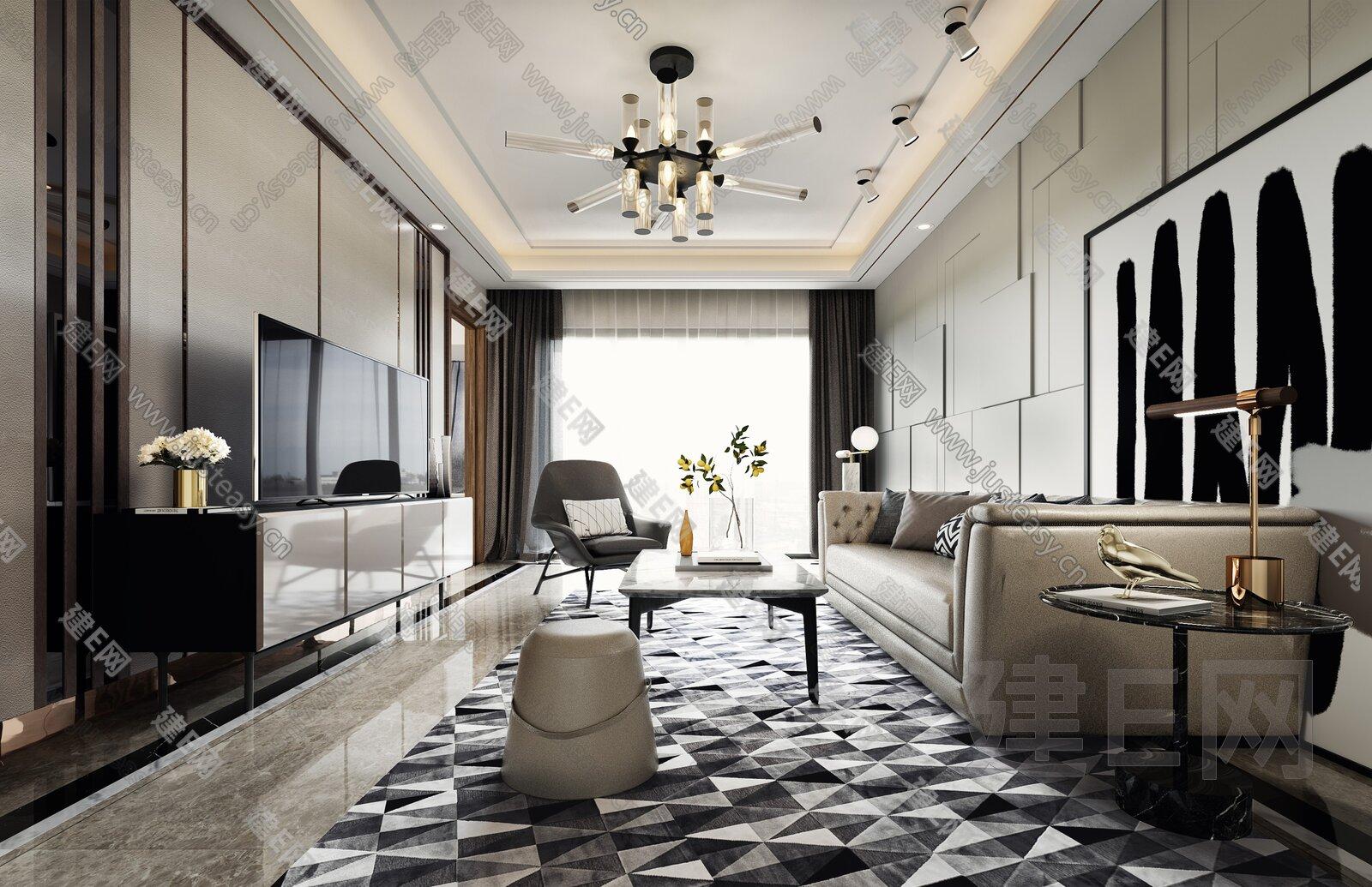 GND设计集团 现代简约样板间客厅3d模型