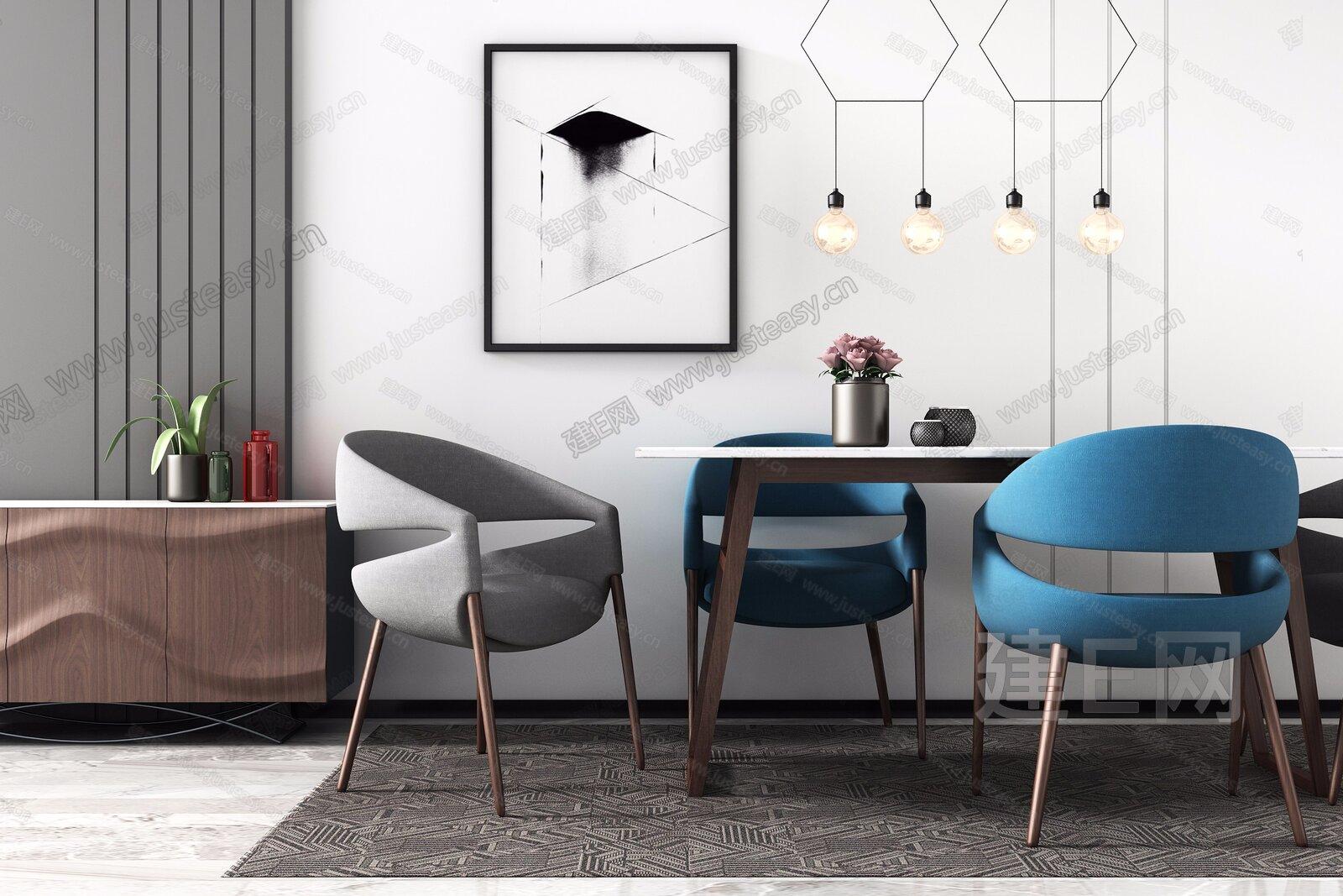 北欧餐桌椅边柜组合3d模型