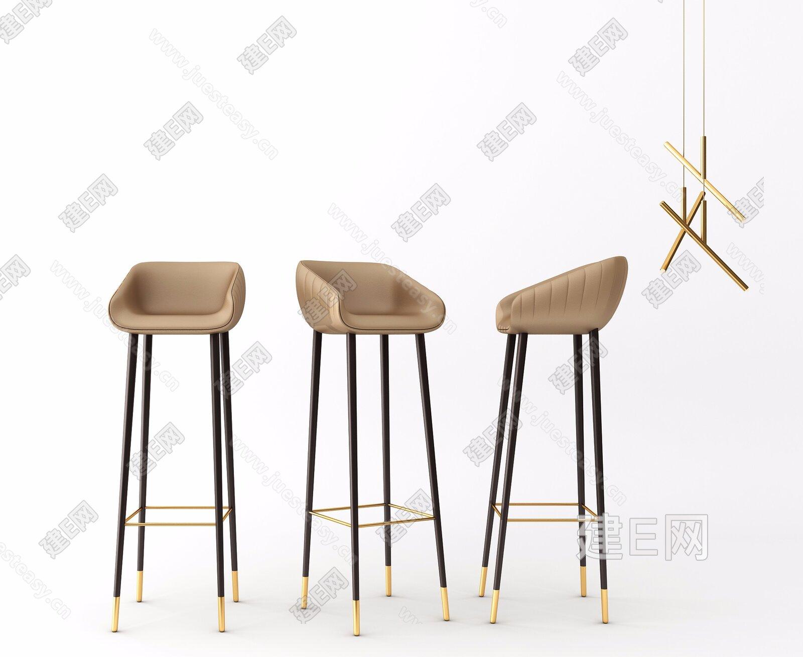现代吧椅吊灯组合3d模型