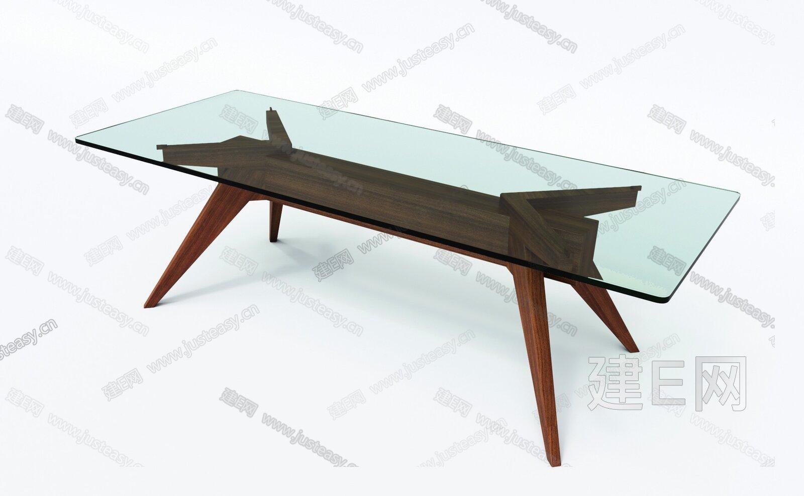 半木 现代玻璃茶几3d模型
