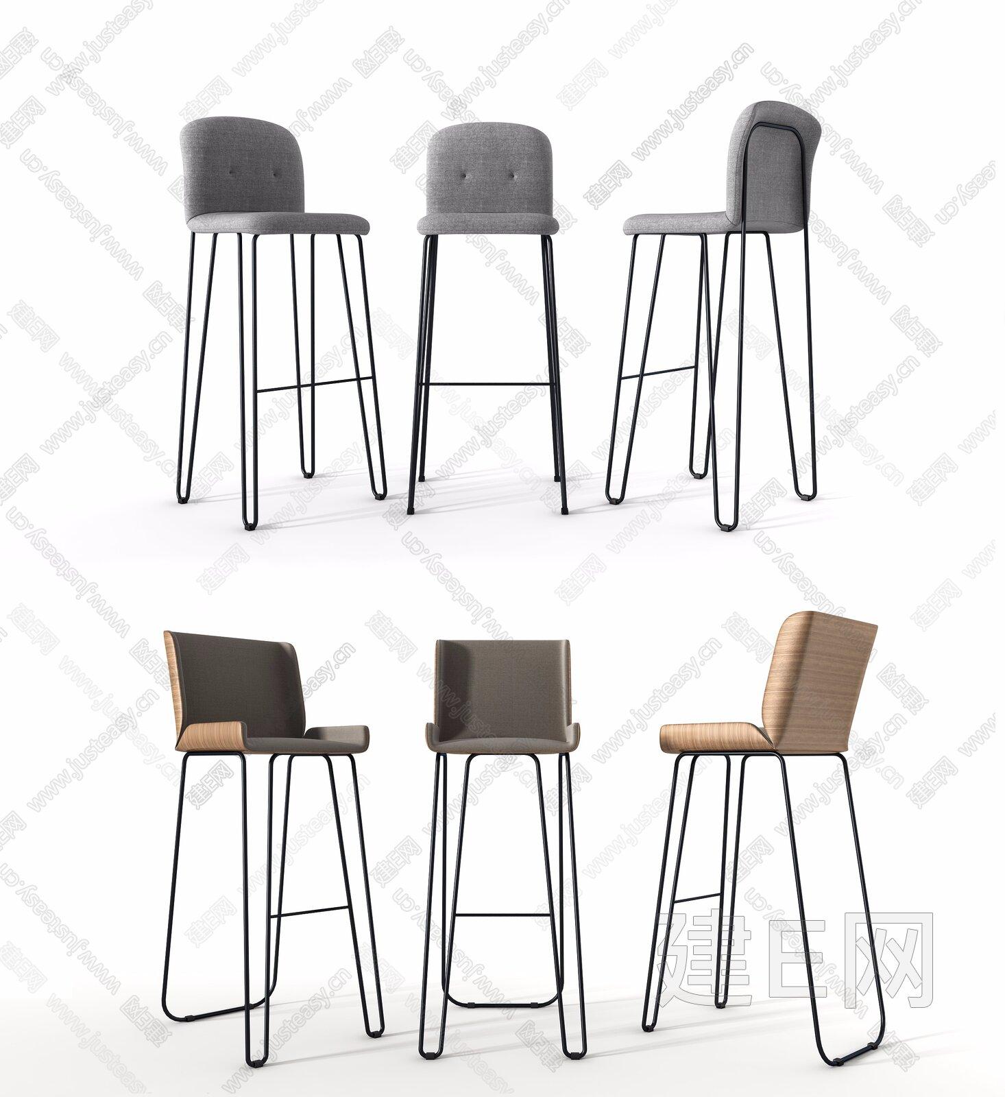 北欧吧椅组合3d模型