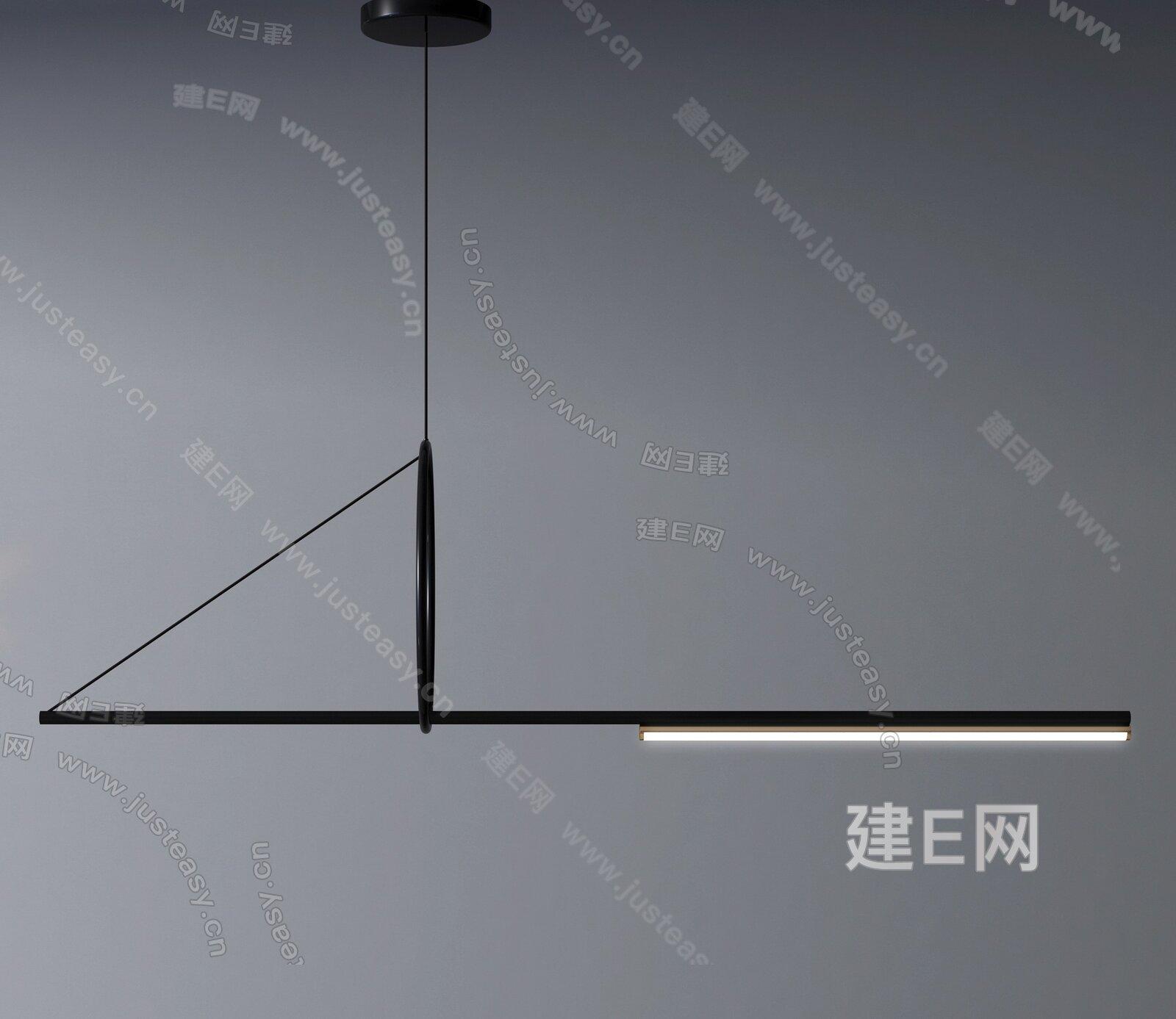 現代吊燈組合3d模型