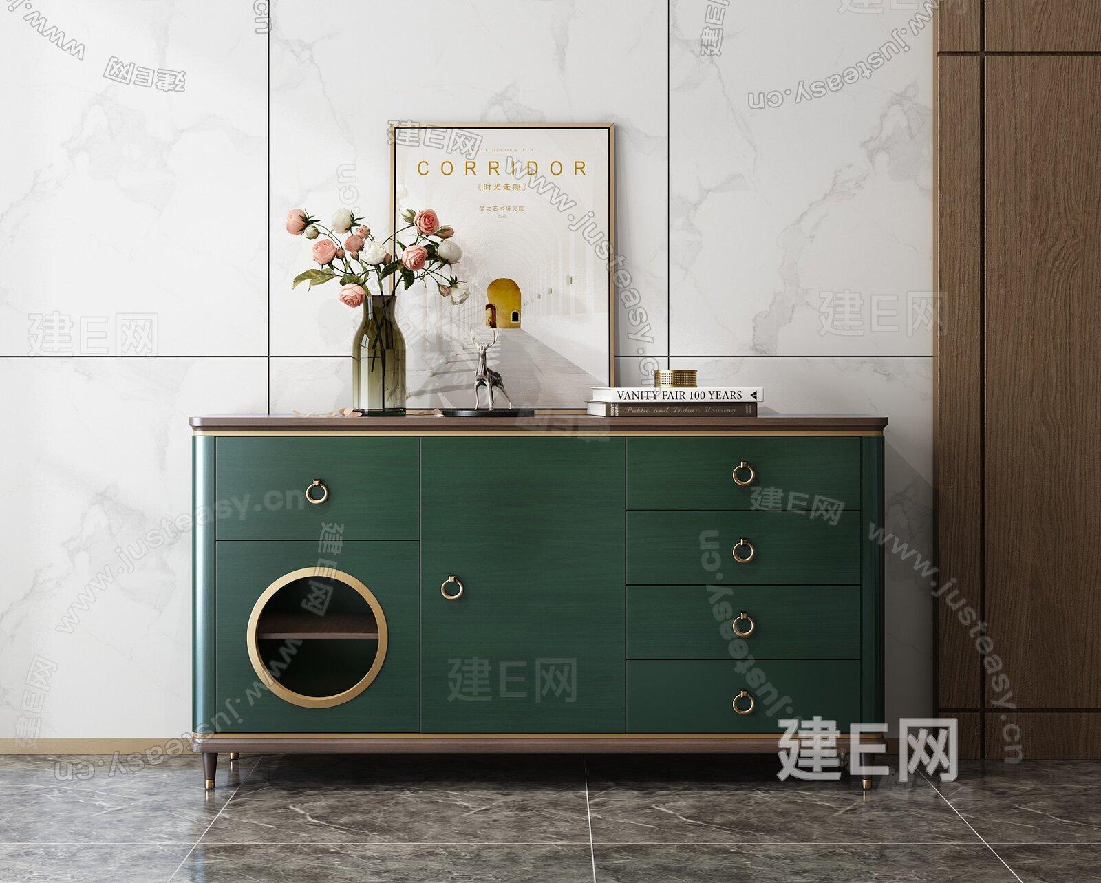 林氏 现代轻奢玄关柜3d模型