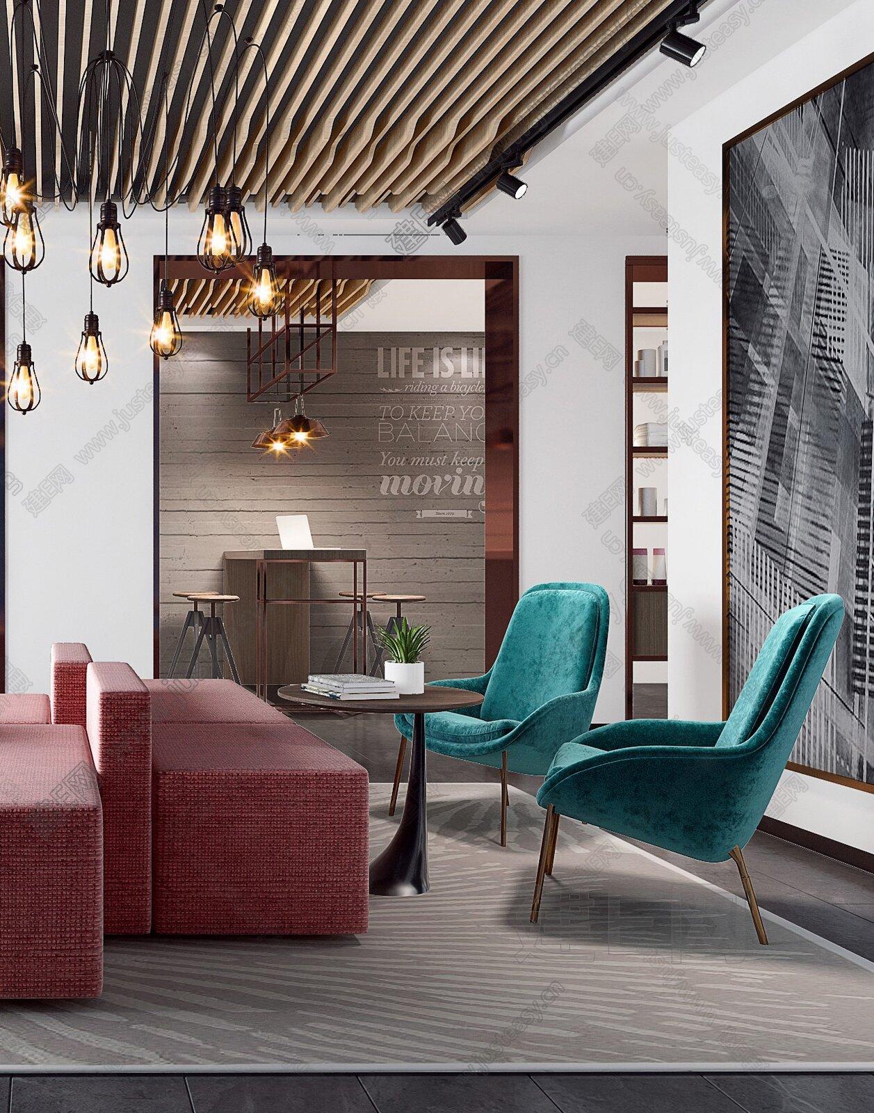 现代办公室休闲区3d模型