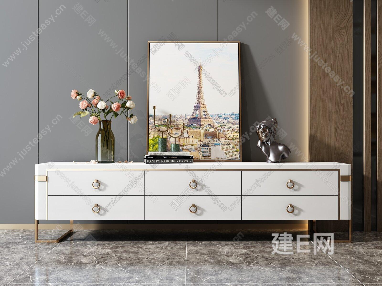 现代轻奢烤漆电视柜3d模型