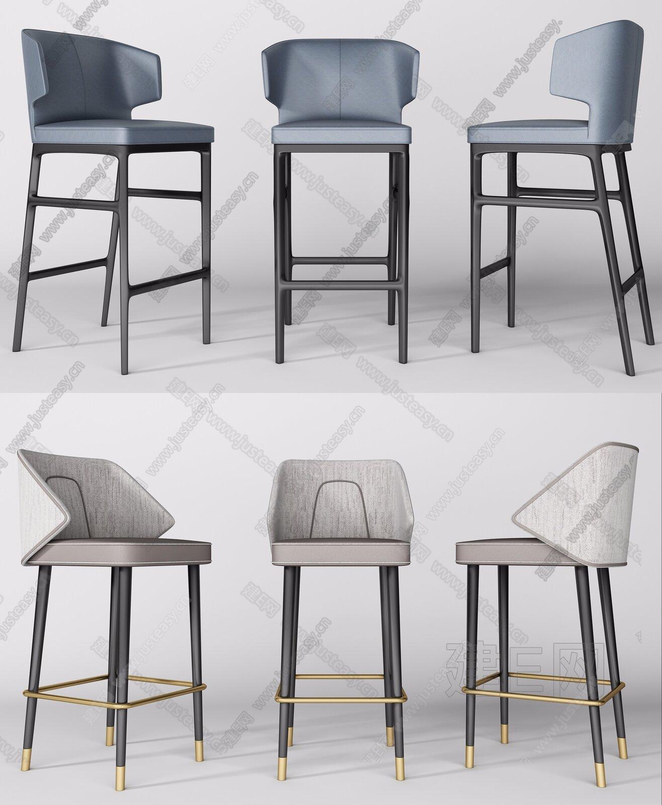 现代吧椅组合3d模型