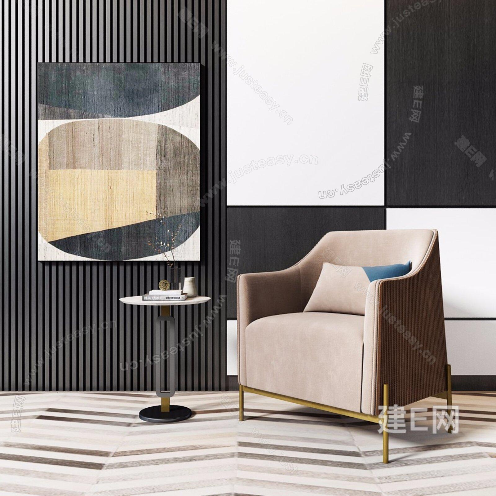 新中式沙发椅边几组合3d模型