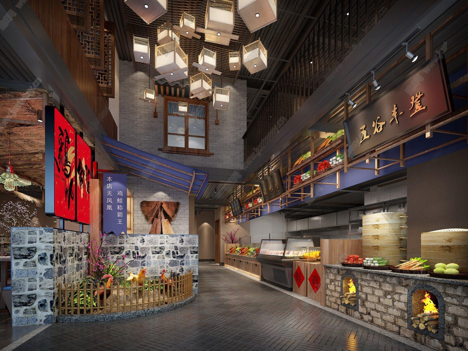 中式餐饮空间3d模型