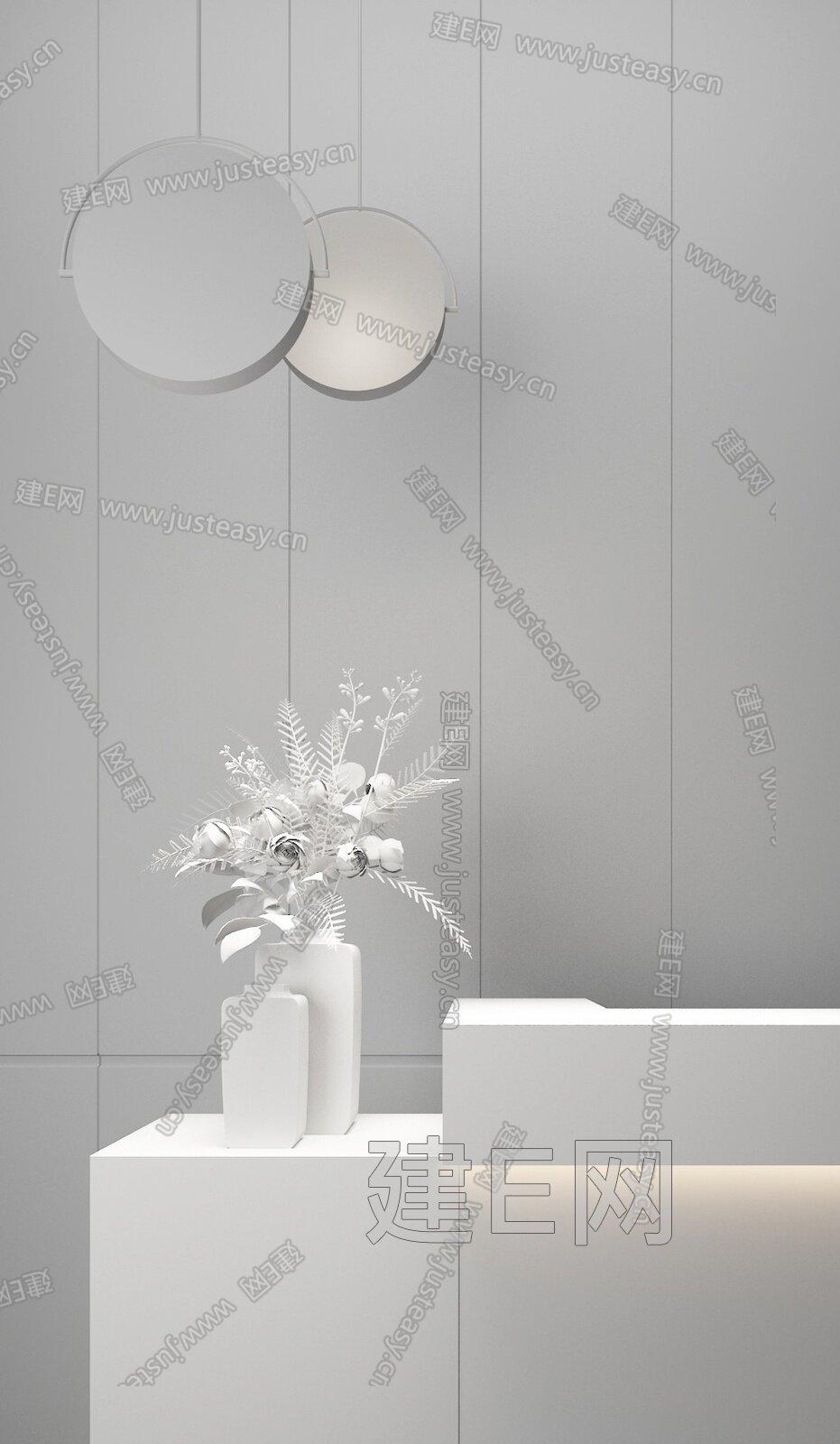 则灵艺术设计 售楼处前台吊灯花艺组合3d模型