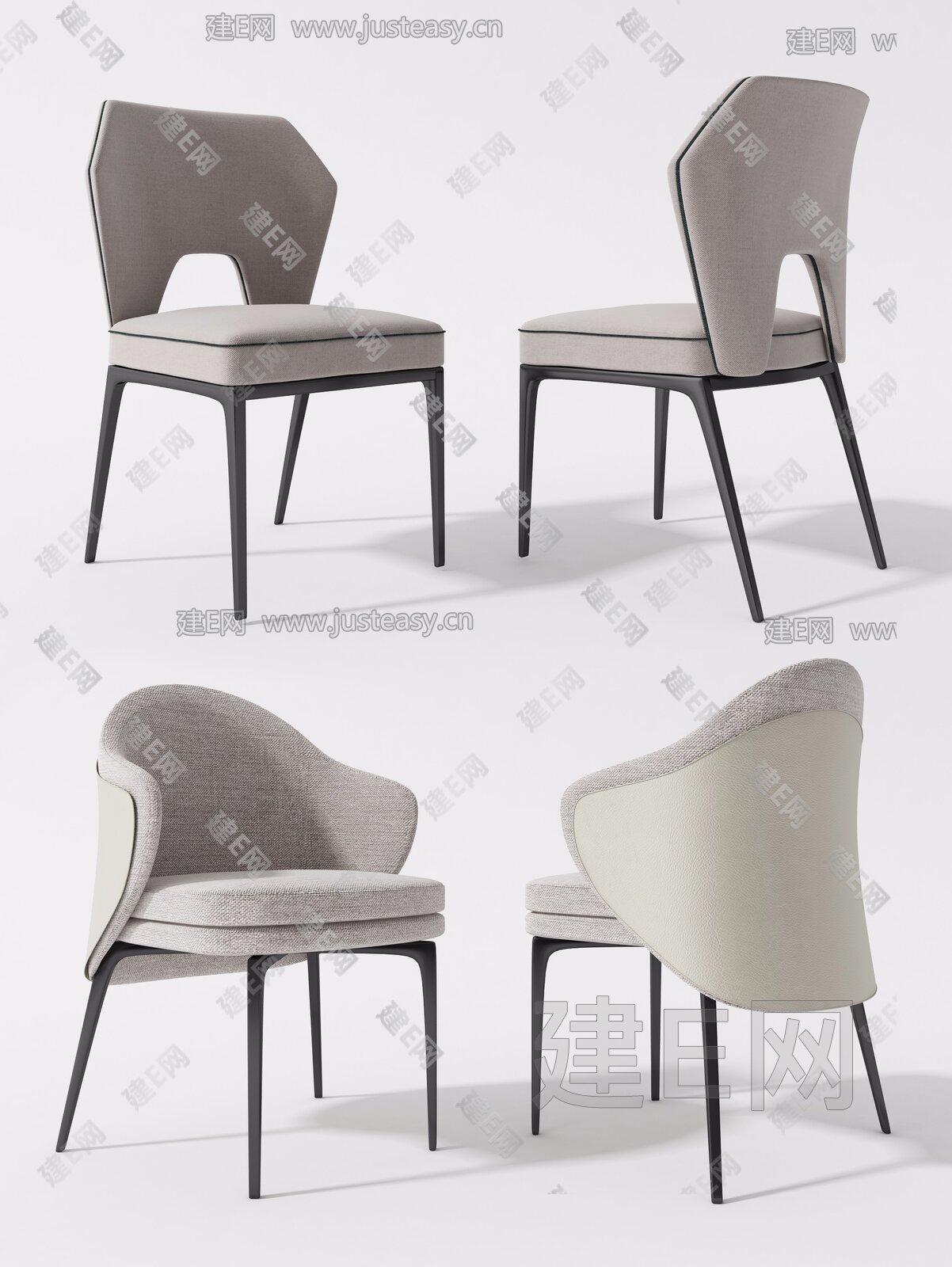 现代餐椅组合3d模型