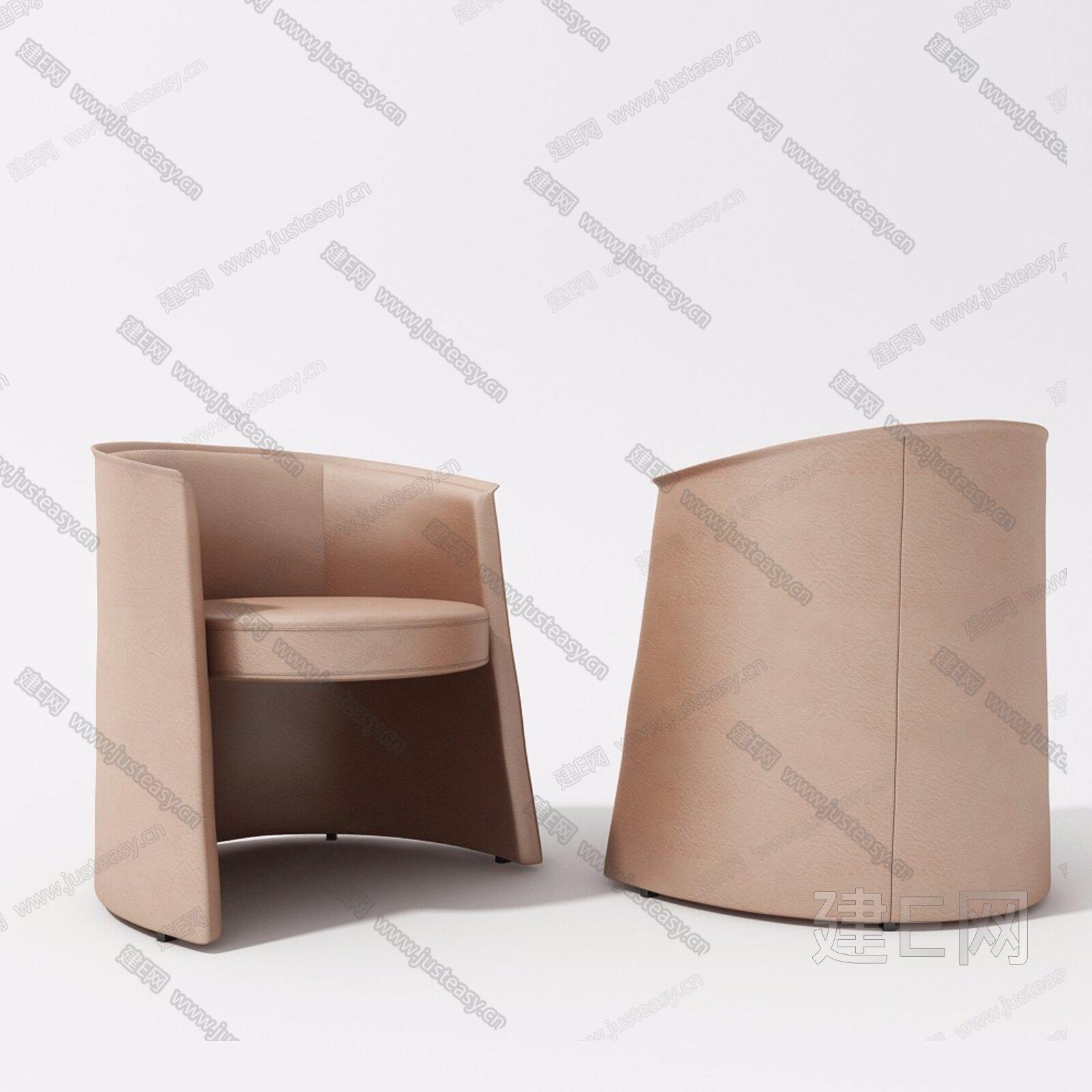 现代单人皮质沙发3d模型