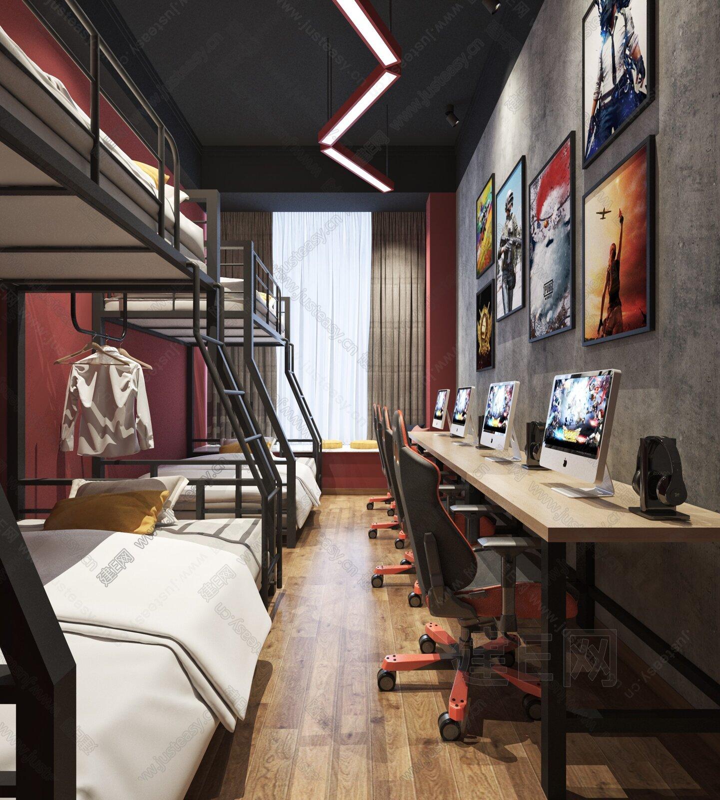 工业风电竞房酒店客房3d模型