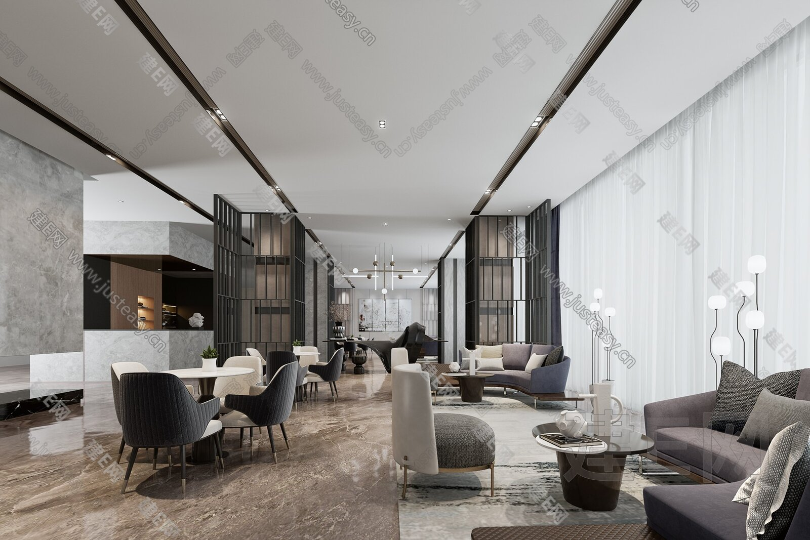 集艾设计 新中式售楼处休闲区3d模型