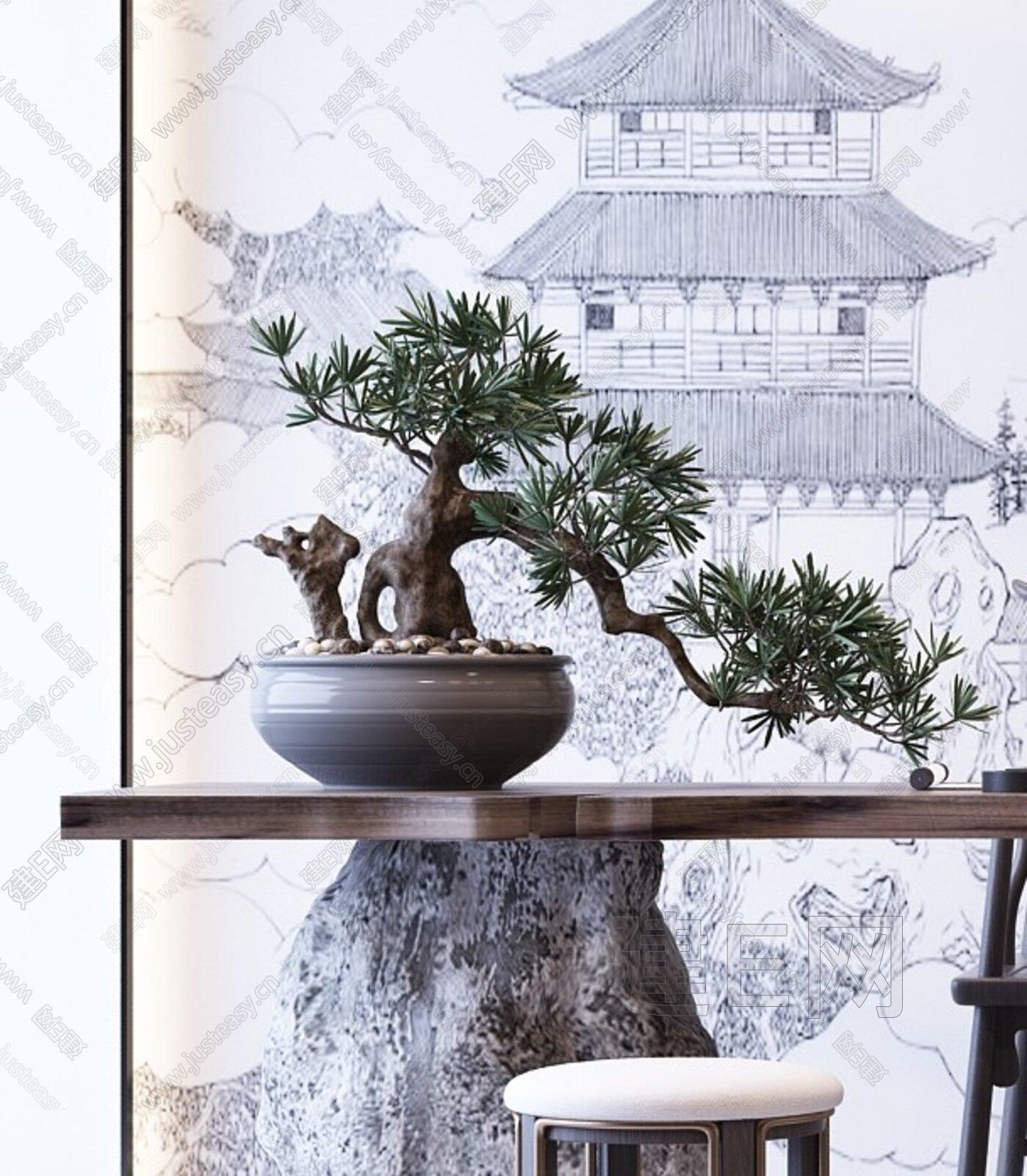 新中式茶桌椅盆栽组合3d模型