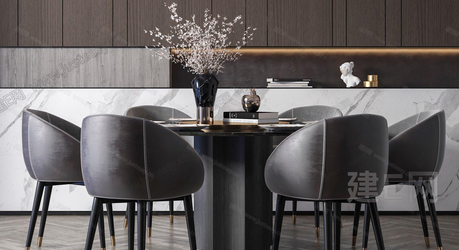 现代奢华餐桌椅组合3d模型