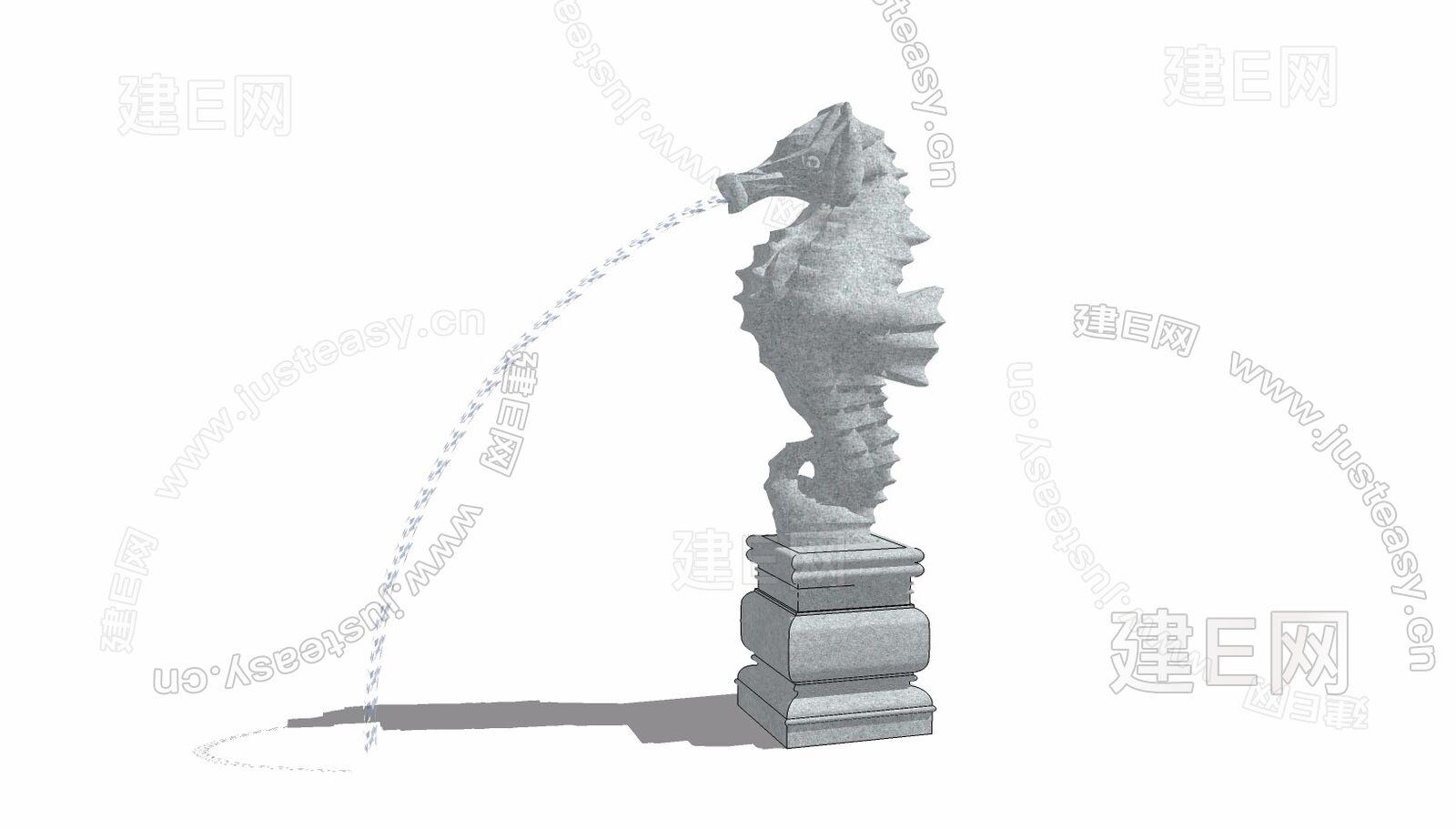 中式海马喷泉sketchup模型