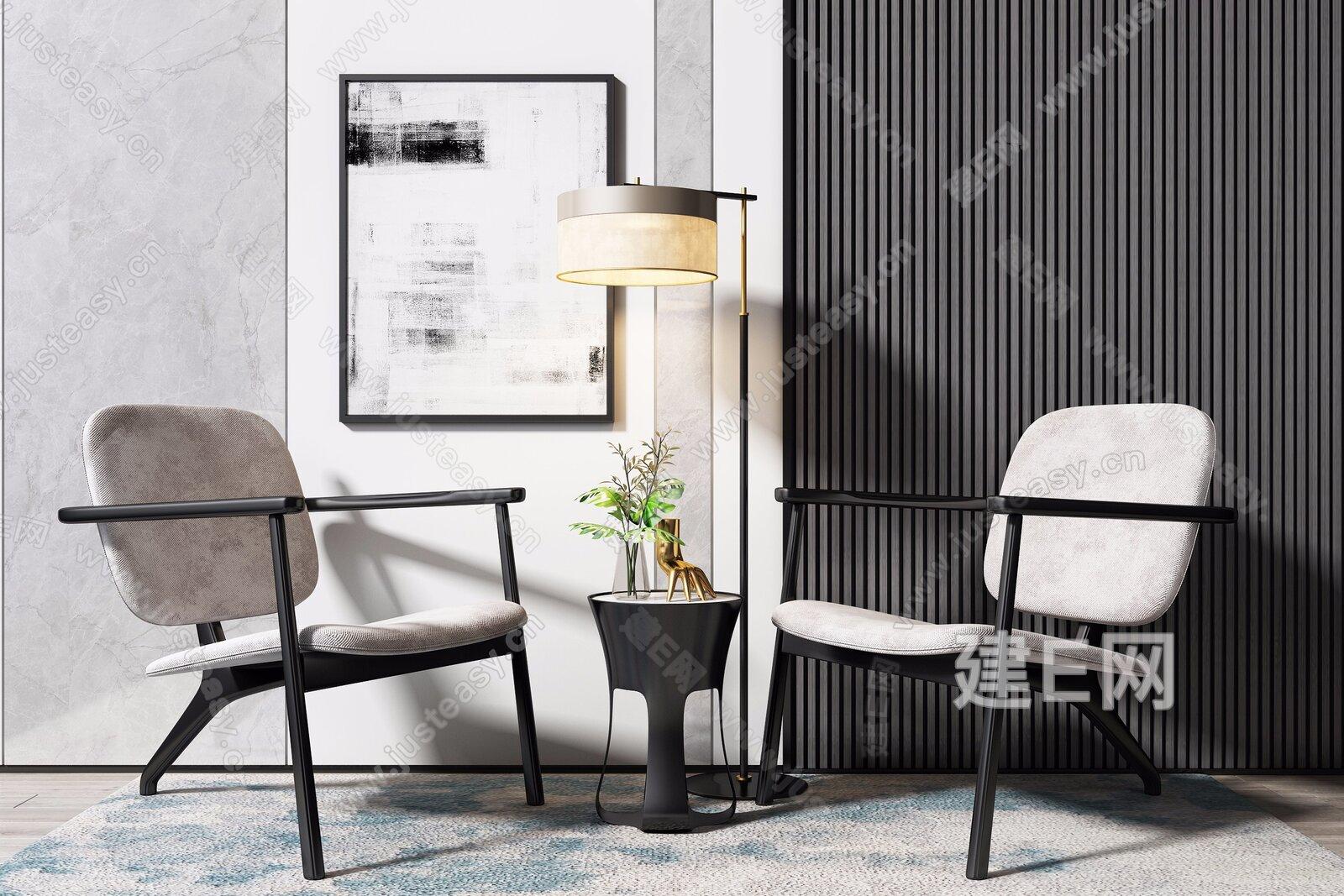 新中式休闲椅边几落地灯组合3d模型
