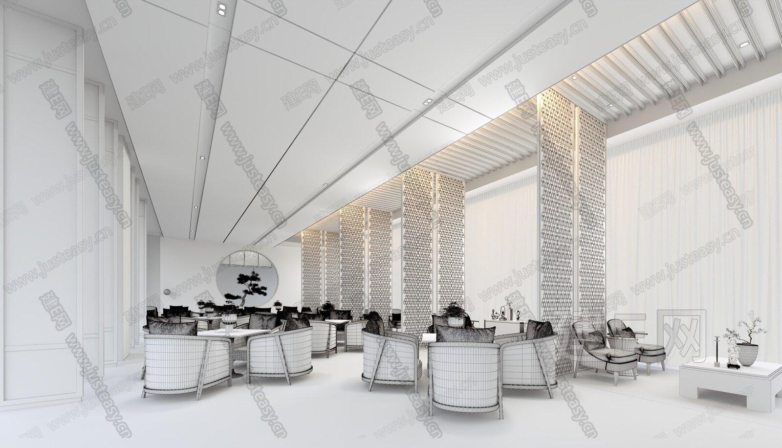 戴勇 坤达.江山筑销售中心 新中式售楼处休息区3d模型
