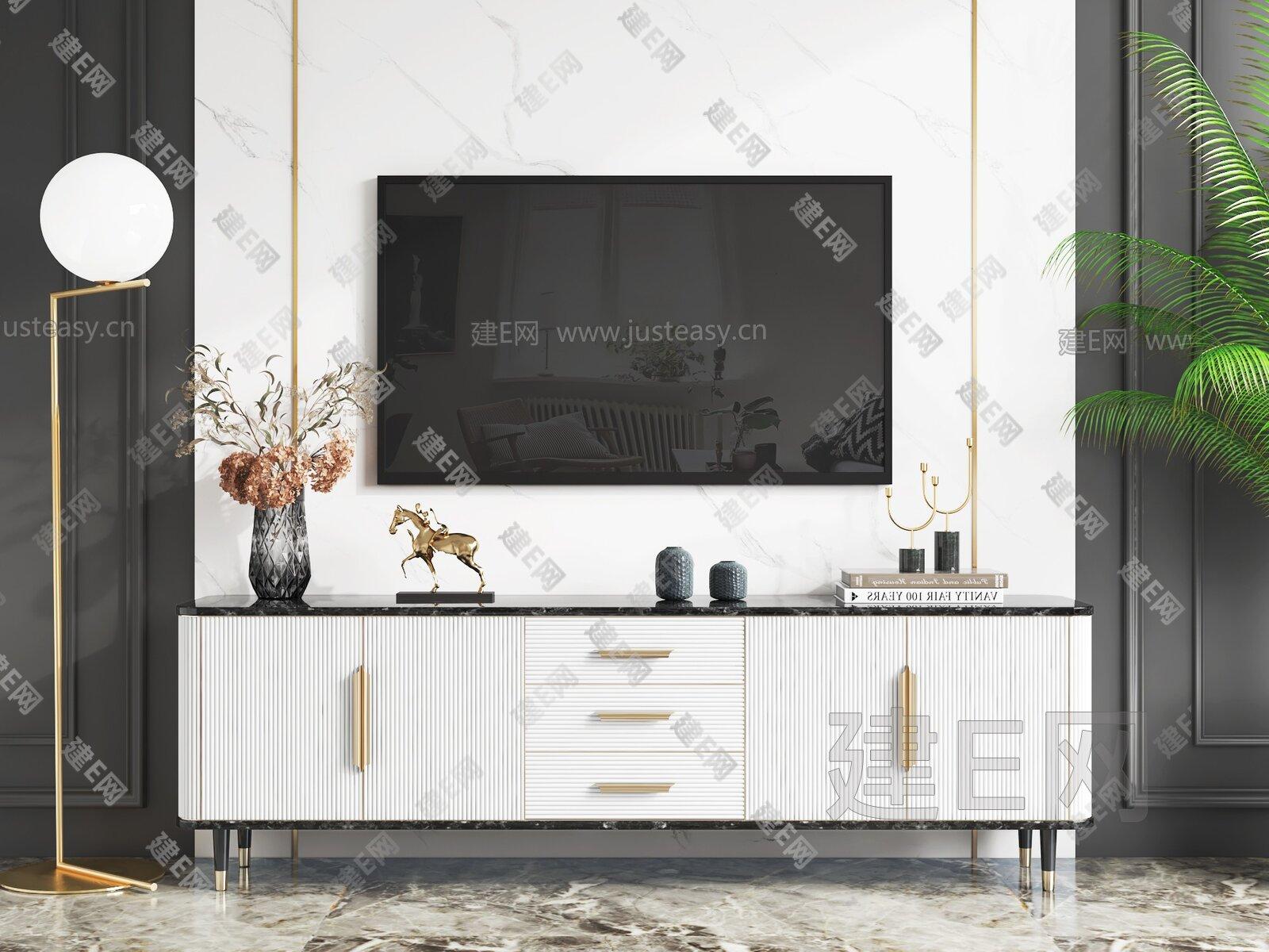现代轻奢电视柜3d模型