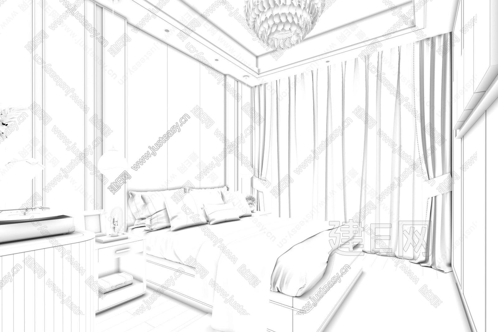 则灵艺术 贵阳龙湖湖山原著 现代卧室l3d模型