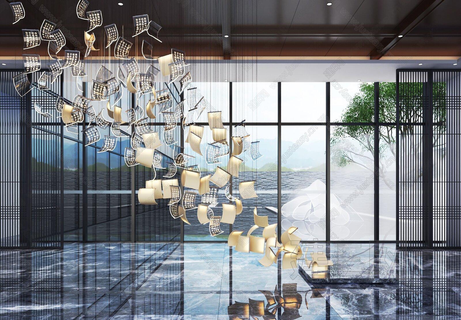 大厅玻璃吊灯3d模型