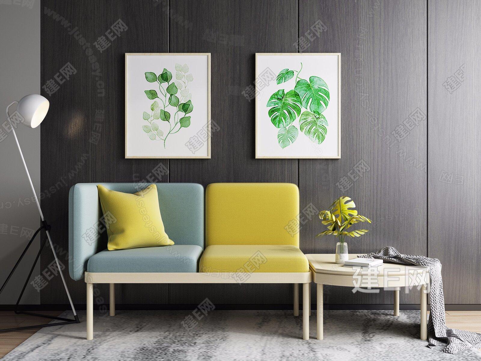 北欧双人沙发椅落地灯组合3d模型