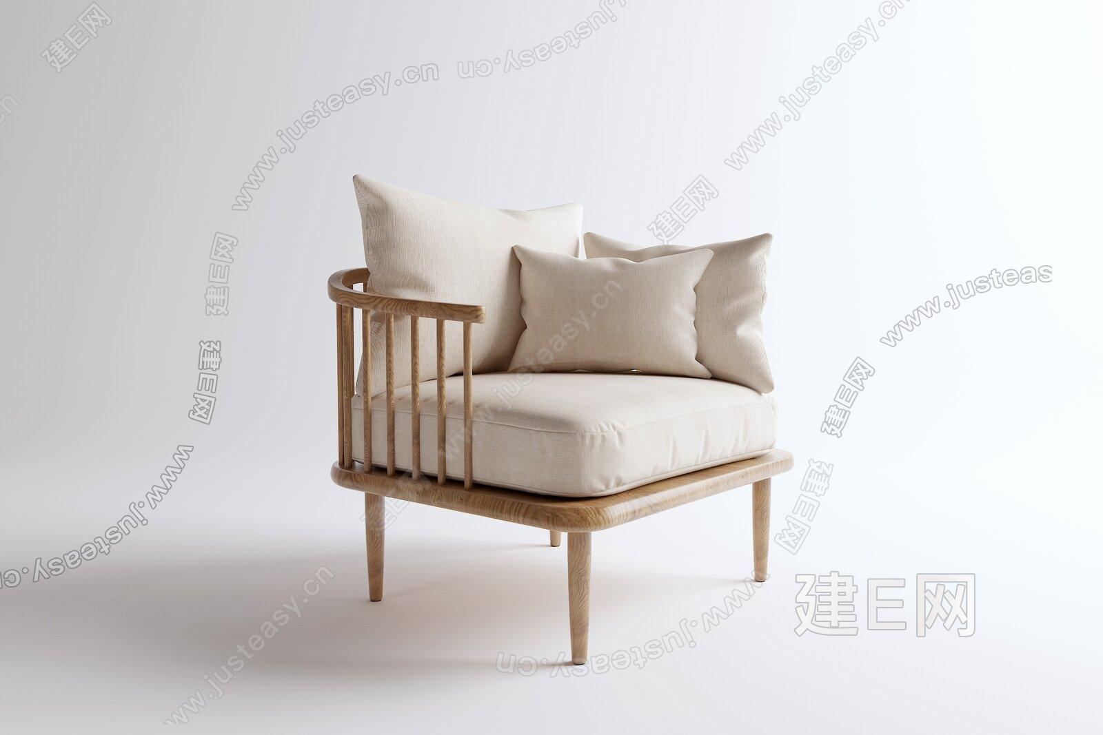 顾全 新中式实木布艺单椅3d模型