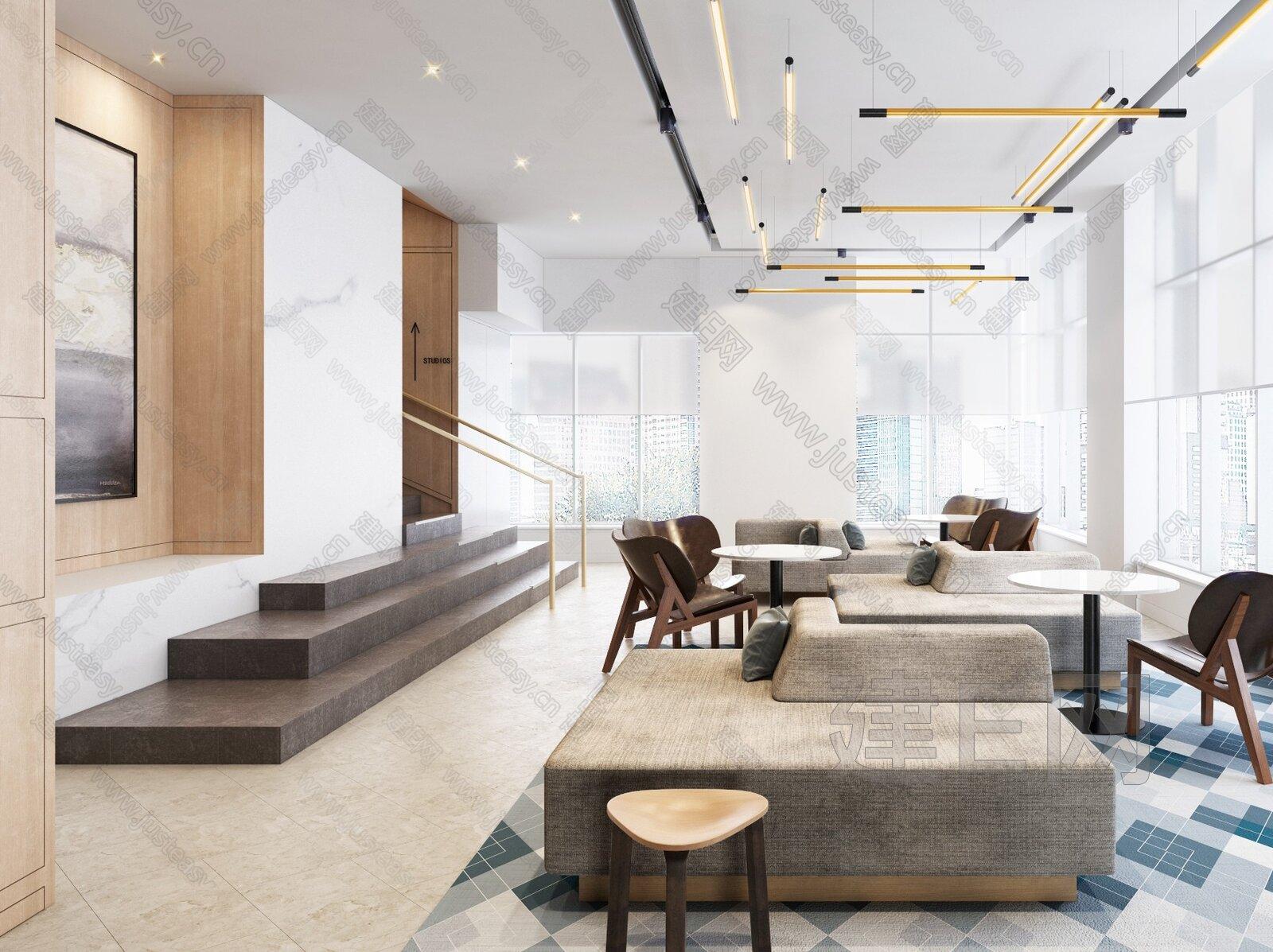 安达仕酒店 现代酒店休息区3d模型