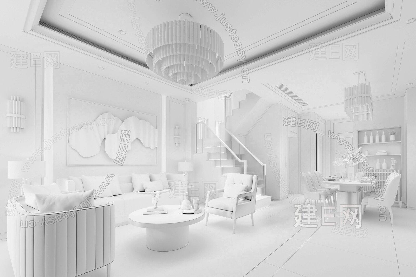 则灵艺术设计 现代客餐厅3d模型