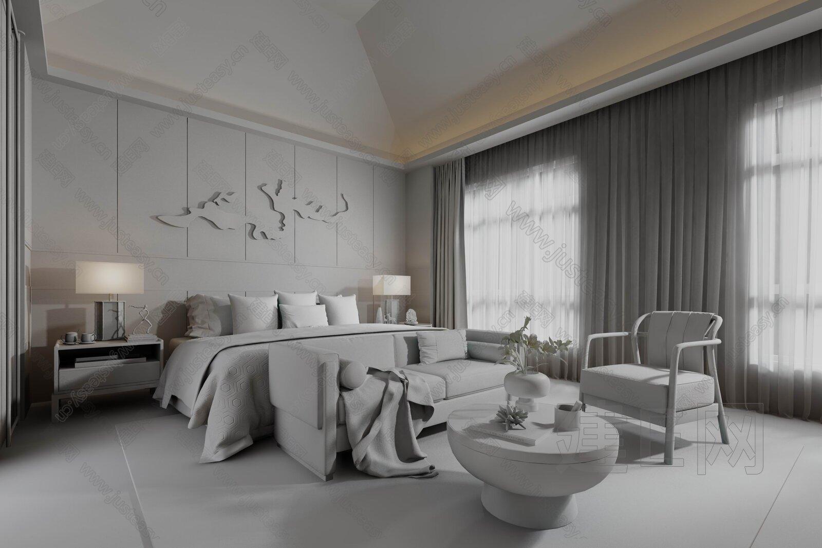 则灵艺术设计 新中式卧室3d模型