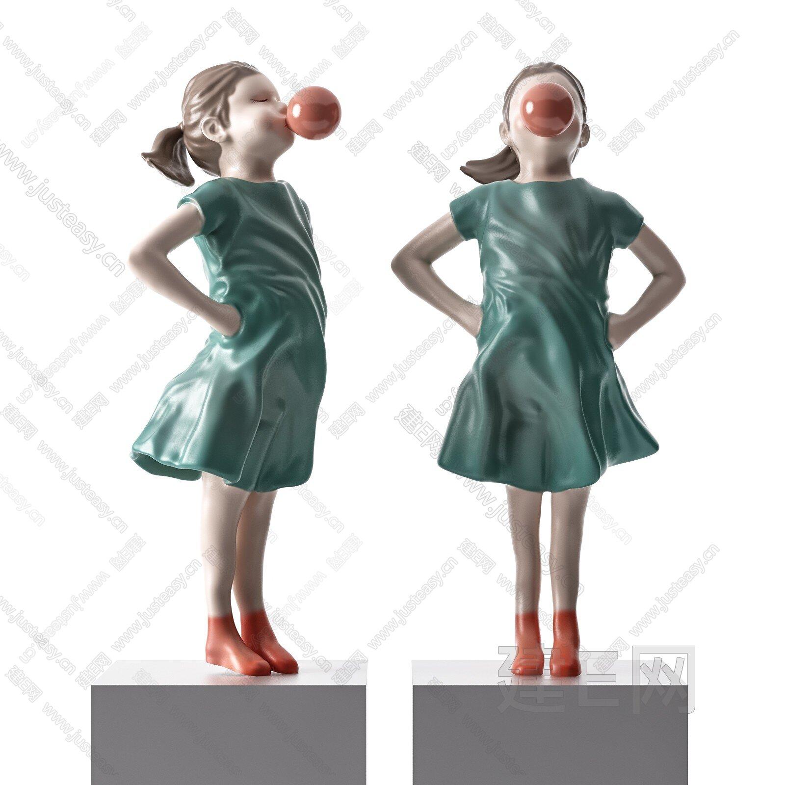 现代女孩摆件3d模型