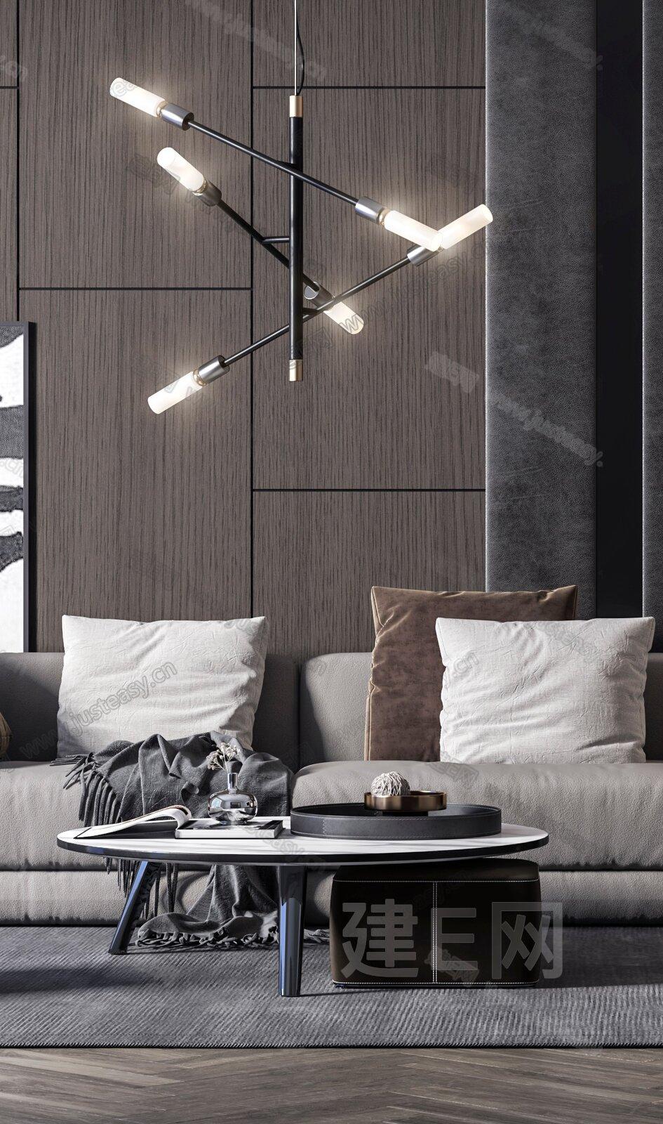 现代沙发茶几餐桌椅组合3d模型